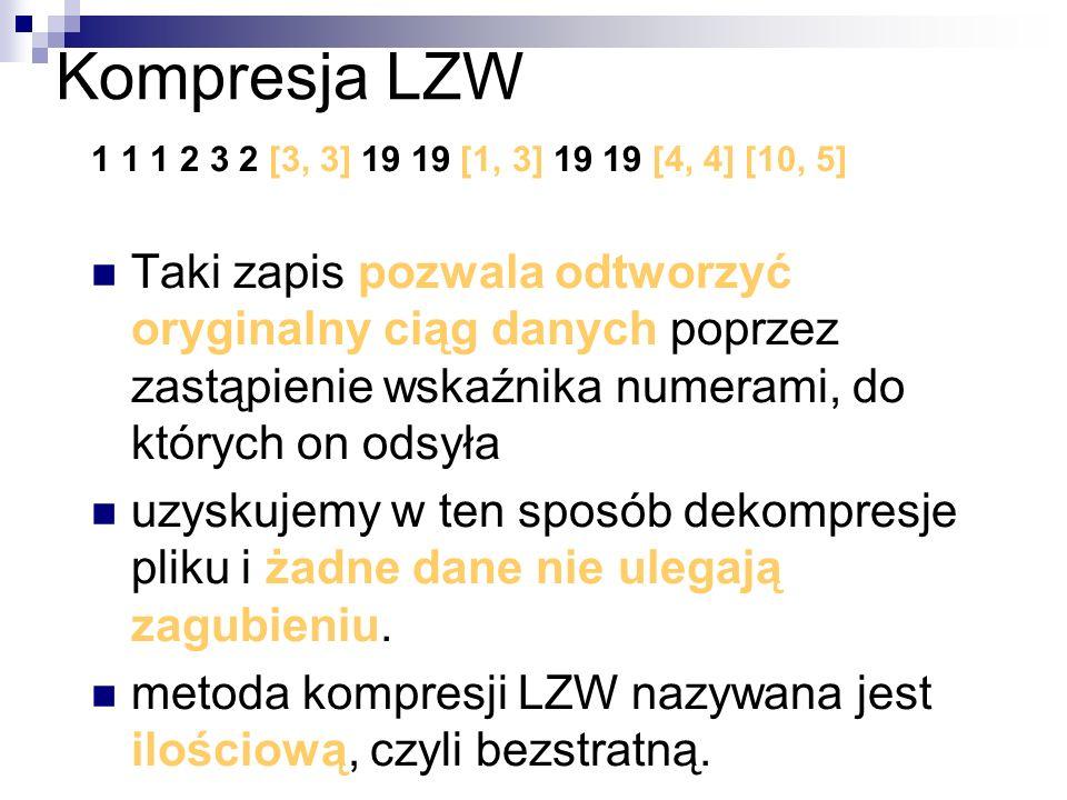 Kompresja LZW1 1 1 2 3 2 [3, 3] 19 19 [1, 3] 19 19 [4, 4] [10, 5]